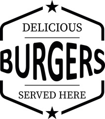 delicious burgers vintage rubber stamp web icon on white background