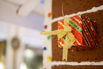 gift box on brown bread background in Christmas celebration