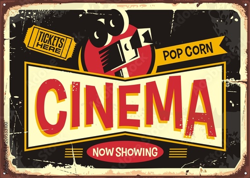 Cinema Retro Tin Sign Vector Design Template Vintage Entertainment Poster Layout With Movie Camera And