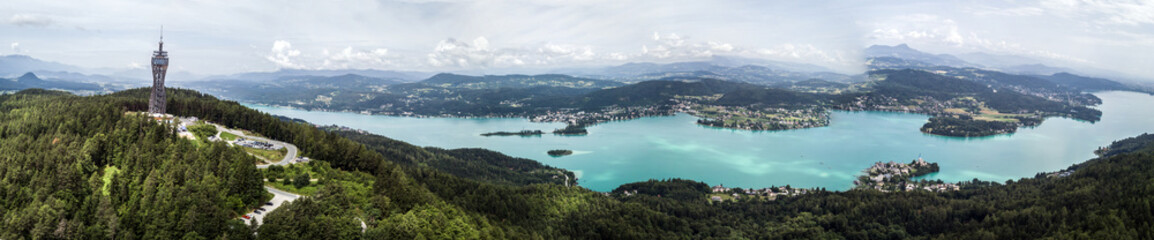 Drone view on the lake Wörthersee