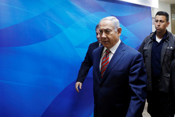 Israeli Prime Minister Benjamin Netanyahu arrives ahead of the weekly cabinet meeting at the prime minister's office in Jerusalem