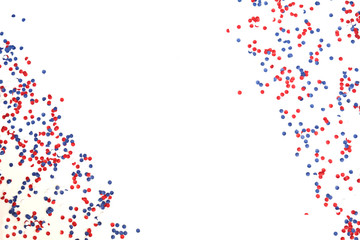 patriotism, independence day USA, Russia, France, Serbia, confetti and candy white-blue-red in a glass jar on a white background, isolate