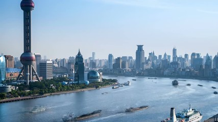 Wall Mural - time lapse of shanghai landscape of huangpu river bend