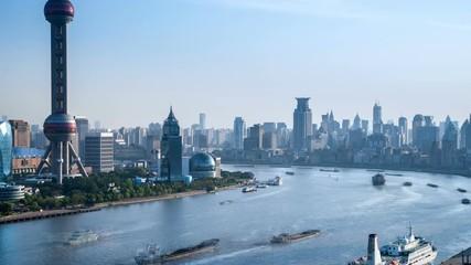 Fotobehang - time lapse of shanghai landscape of huangpu river bend