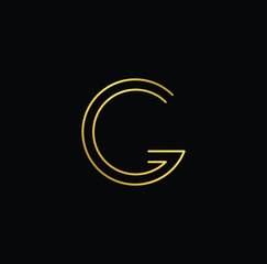 Initial letter G GG minimalist art logo, gold color on black background