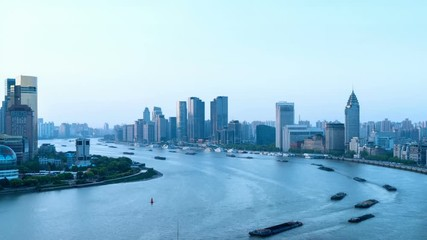 Fotomurales - time lapse of shanghai cityscape in morning, busy water transport on huangpu river