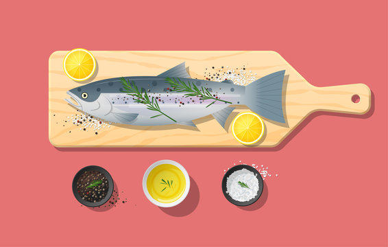 Fresh raw salmon fish and spices on wooden cutting board, food preparation, vector, illustration
