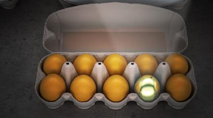 Uovo d'oro simbolo di fortuna, illustrazione 3d