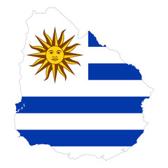 National flag of Uruguay with Sun of May in the country silhouette. Country flag with national emblem Sol de Mayo on white canton and white and blue horizontal stripes. Illustration over white. Vector