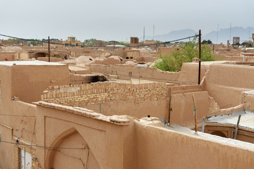View of Old City from roof in Yazd, Iran