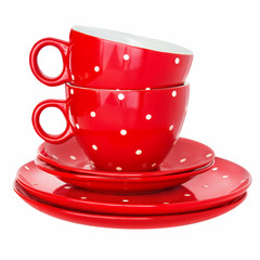 Set of dishes -  Two red cups and plates  -  Service