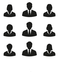 set of businessmen men and women on a white background