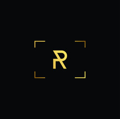 Initial letter R P PR RP minimalist art logo, gold color on black background