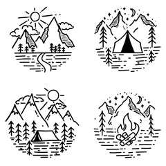 Set of hand drawn hiking and tourism emblems. Design element for logo, poster, card, emblem, print.