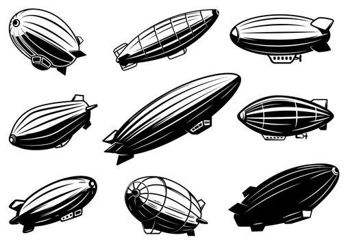 Set of air balloons, zeppelin. Design element for poster, card, emblem, sign, banner.
