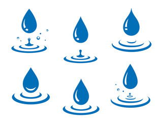 blue water drops icons set and splash