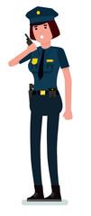 Caucasian woman police officer talking on walkie-talkie radio. Female police holding walkie-talkie radio. Vector cartoon flat design illustration isolated on white background.