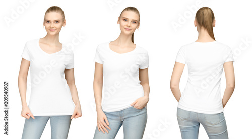 1320ac21 Set promo pose girl in blank white tshirt mockup design for print and concept  template young