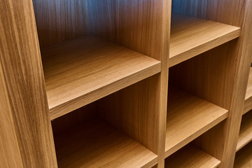 Wardrobe made of MDF and oak veneer. Details wood production