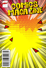 Editable comic book cover with abstract background.