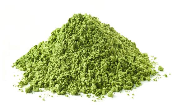 Heap of green matcha tea powder