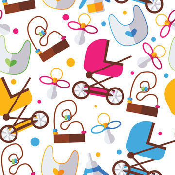 Seamless pattern with bright kids toys, pram, nipple and bib on white background. Bold colors, dots
