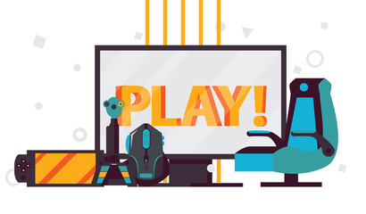Vector scene with word play on computer monitor, video games accessories like player chair, gaming mouse, gamepad, joystick on white background
