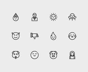 Emoji icons. Set of emoji fire, emoji sun and thumb down vector sign symbols. Vector illustration of gesture emoticons set for logo web mobile design.