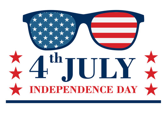 Happy Independence Day Banner with Glasses with stars and strips