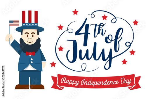 Flat Design Cute Cartoon Abraham Lincoln Happy 4th Of July