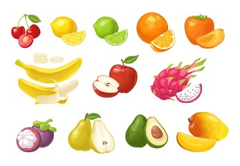 Set tropical fruits. Vector color flat illustration isolated on white