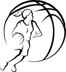 Basketball Female drivingto Basket with Stylized ball.
