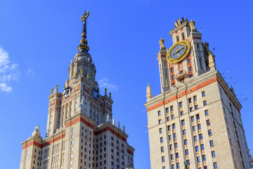 Lomonosov Moscow State University (MSU) towers on a blue sky background