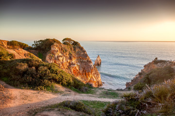 Atlantic coast at sunset, Algarve, Portugal. Stunning beautiful landscape