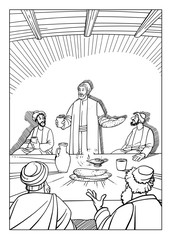 Jesus Christ with his disciples the Lord's Supper holds, giving them bread and wine
