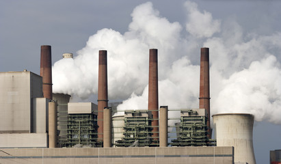 Smoke Stacks And Cooling Towers Panorama