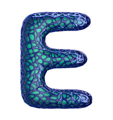 Blue plastic letter E with abstract holes. 3d