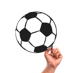 woman hand with pencil draws soccer ball on white isolated background