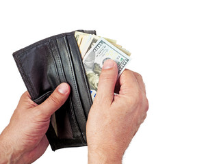 Wallet with US dollars in the hands ,A hand holding an money with leather brown wallet,Counting dollars in hand in hand,Two hand holding a brown leather wallet with US Dollars cash inside.US dollar,
