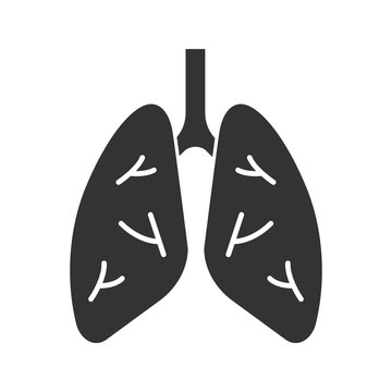 Human lungs glyph icon