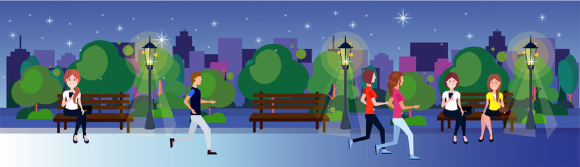public night park woman man sitting wooden bench outdoors walking running green lawn trees on city buildings template background flat banner vector illustration