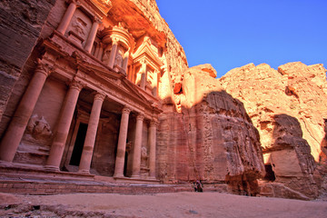 The Treasury (Al Khazneh) of Petra Ancient City at Sunset, Jordan