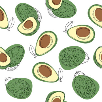 Avocado seamless pattern. Hand draw vector illustration on isolated white background