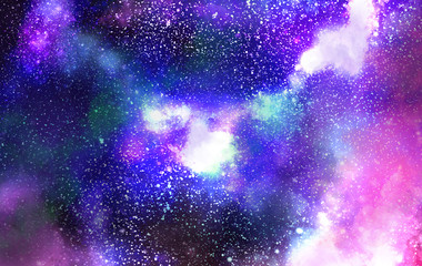 The Galaxy is covered with a violet-blue atmosphere and the clouds are spinning.