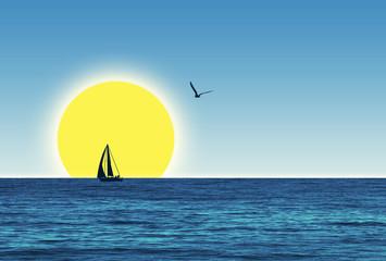 Verano, ilustración, fondo, mar, sol, barco y cielo degradado