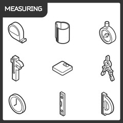 Measuring outline isometric icons