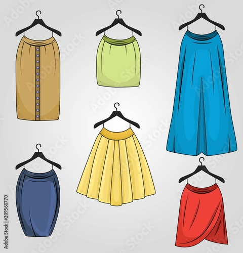 64d9c8d1094359 Set of skirts in different colors and different styles drapped, pencil,  tulip, long