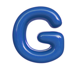 Glossy blue paint letter G. 3D render of bubble font isolated on white background