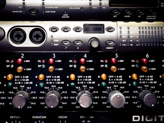 Levels and knobs on professional electronic audio equipment
