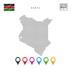 Vector Dotted Map of Kenya. Simple Silhouette of Kenya. The National Flag of Kenya. Set of Multicolored Map Markers